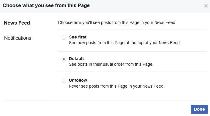 Turn on Facebook Live notifications from pages on desktop- step 2 decide what you want to see in the newsfeed
