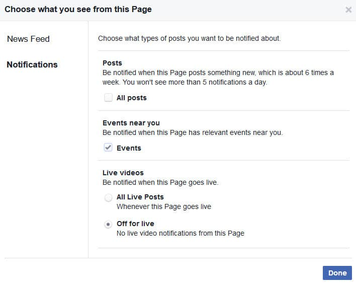 Turn on Facebook Live notifications from pages on desktop - step 3 review and change the notifications for posts and live videos