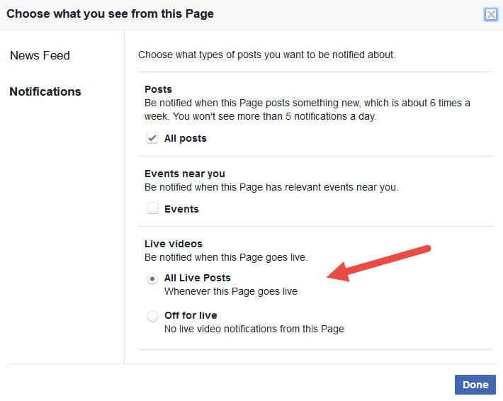 Turn on Facebook Live notifications from pages on desktop - step 4 click the done button to save the setting