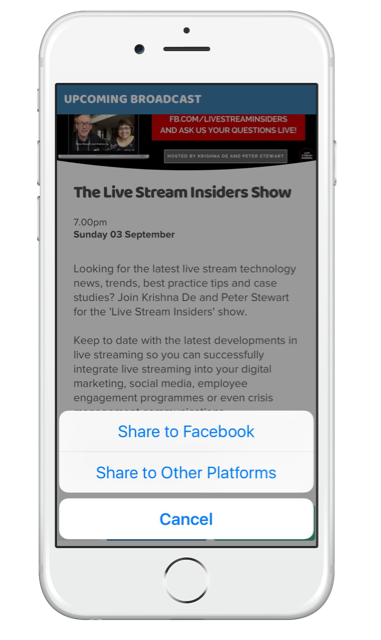 Using Stream Time app to grow your live stream audience - share your live stream from the app