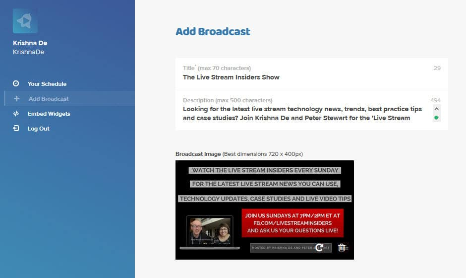 Using Stream Time app to grow your live stream audience adding your shows on desktop