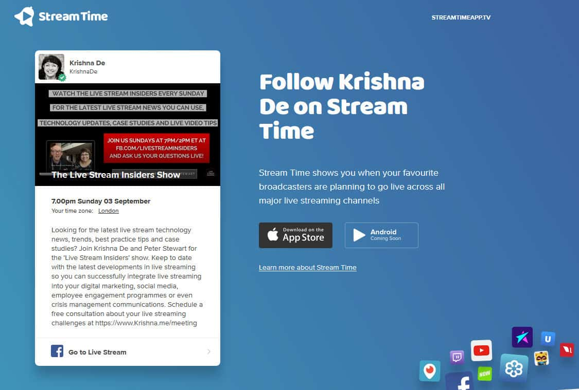 Using Stream Time app to grow your live stream audience - the web link for your live stream