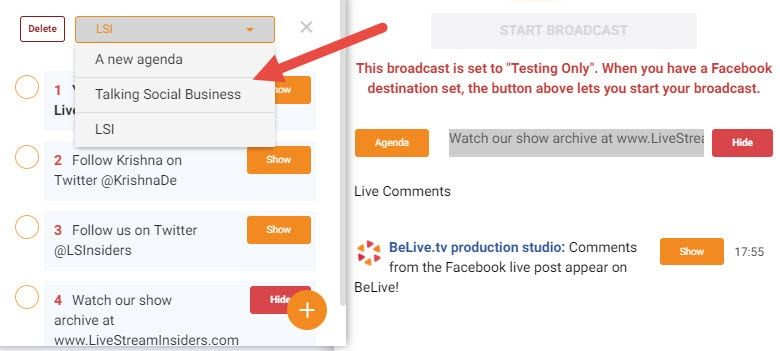 07 BeLivetv select the relevant agenda for your live stream show or create a new one