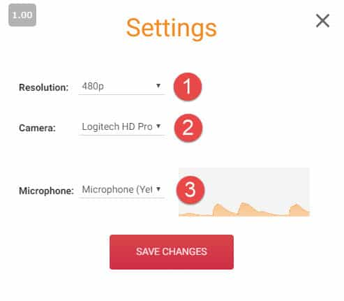 Access the BeLivetv camera and microphone settings