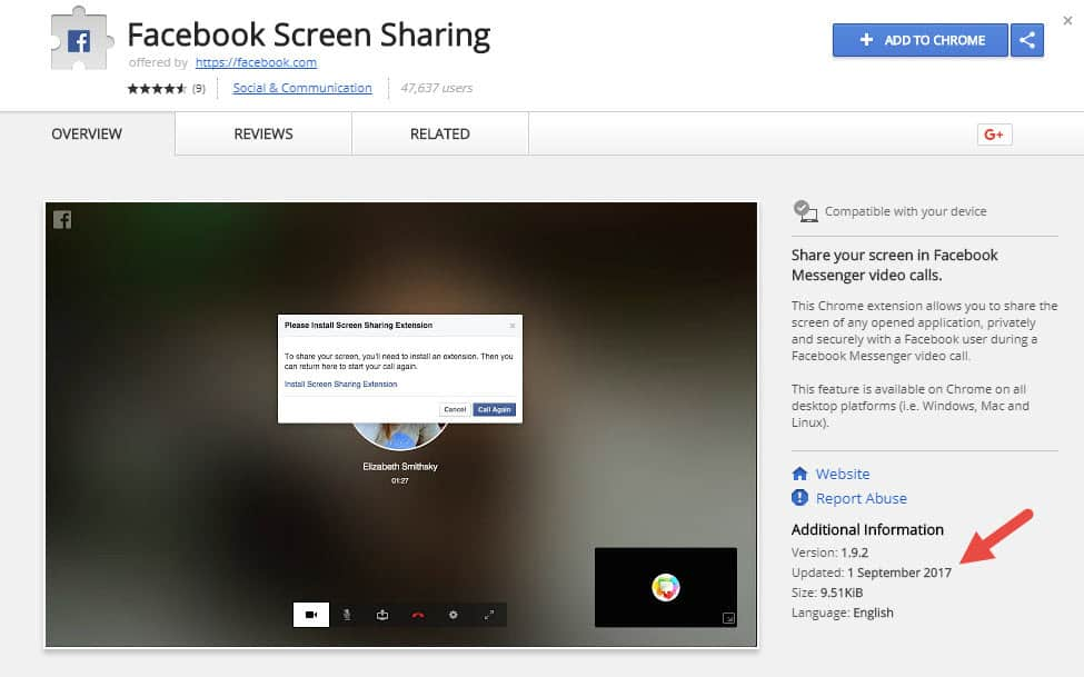 Facebook Live screen share on Chrome the Chrome extension