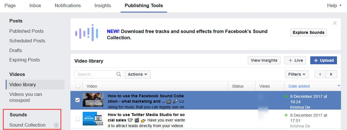 Find the Sound Collection in your video settings on Facebook