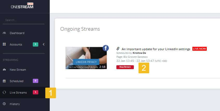 How to schedule your pre recorded content as live streams using OneStream live 06