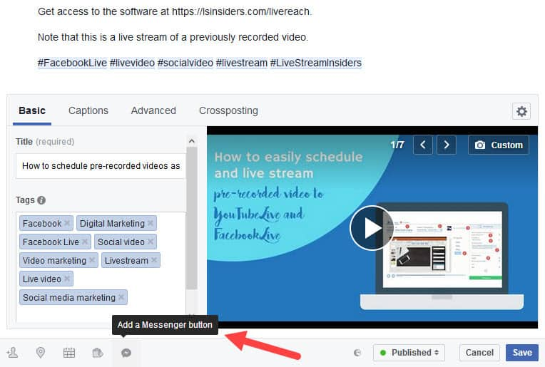 Facebook New Video Uploader 08 the ability to add a Messenger button to your video seems not to be available