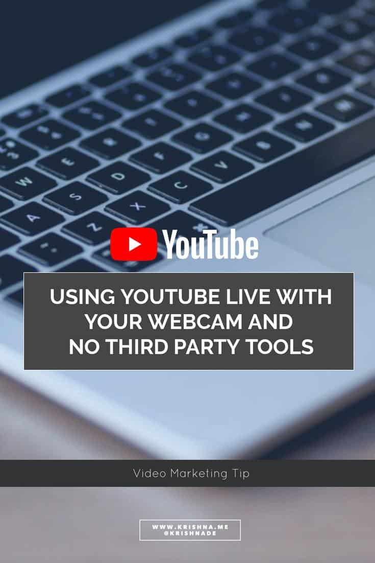 How to use the new YouTube live stream feature streaming live with your webcam and no third party tools live video tutorial from @KrishnaDe #socialvideo #videomarketing #livevideo