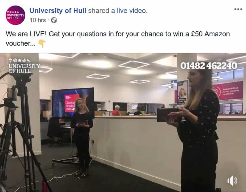 A level results day University of Hull Facebook live stream