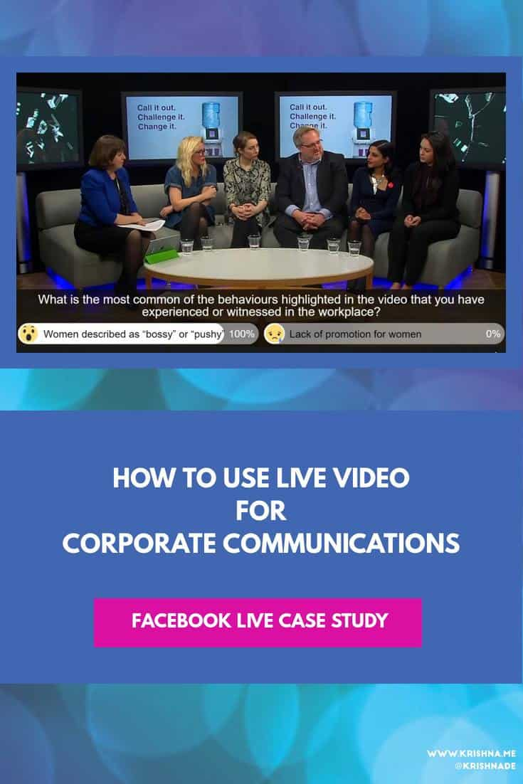 Live streaming for corporate communications - if you are considering how you could use live streaming to support your corporate communications campaign this case study provides you with practical advice #FacebookLive #socialvideo #livestream